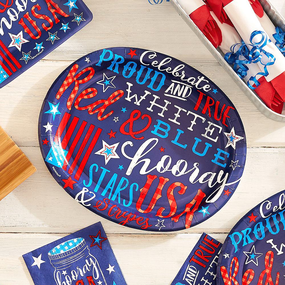 Patriotic Proud & True Oval Plates 18ct Image #2