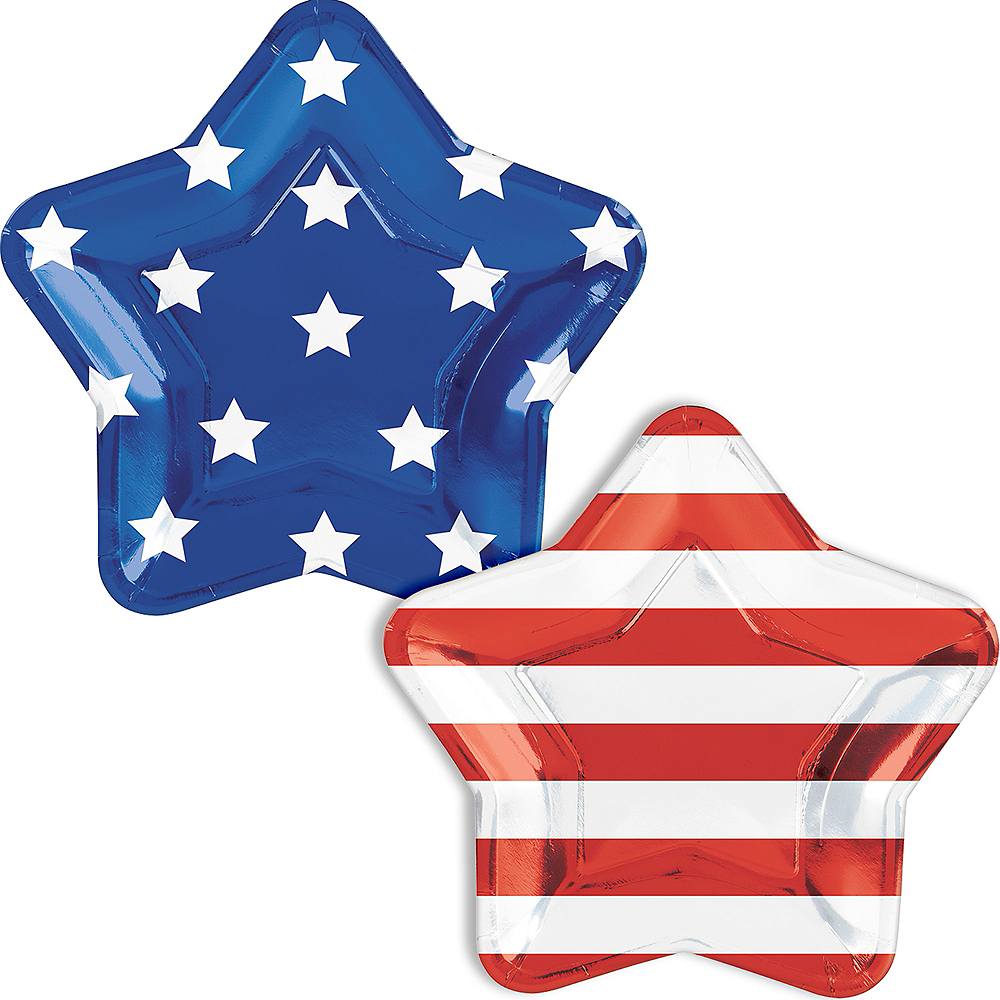 Metallic Patriotic American Flag Dinner Plates 10ct Image #1