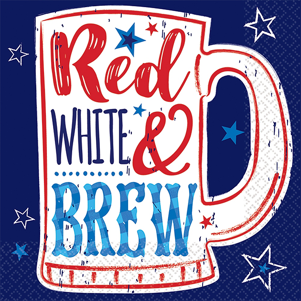 Patriotic Red, White & Brew Beverage Napkins 16ct Image #1