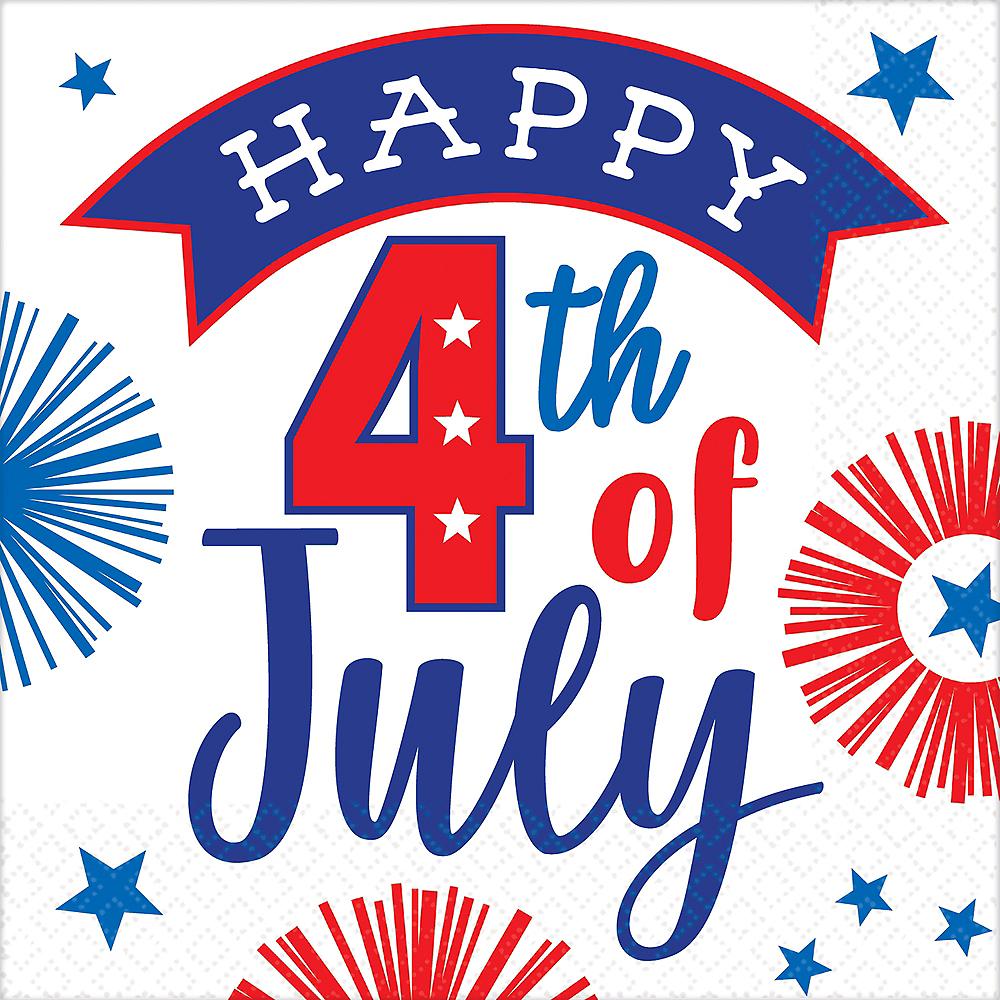 Patriotic 4th of July Beverage Napkins 16ct Image #1