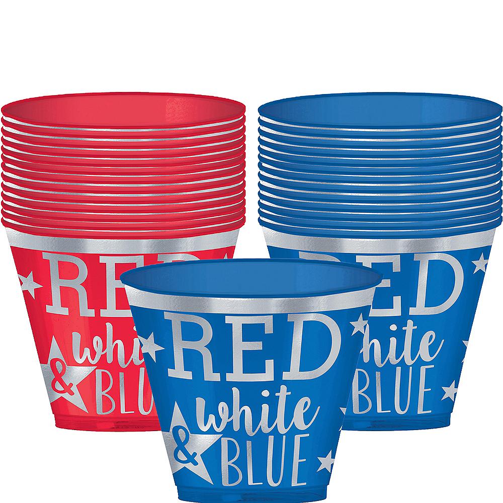 Metallic Patriotic Red, White & Blue Plastic Cups 30ct Image #1