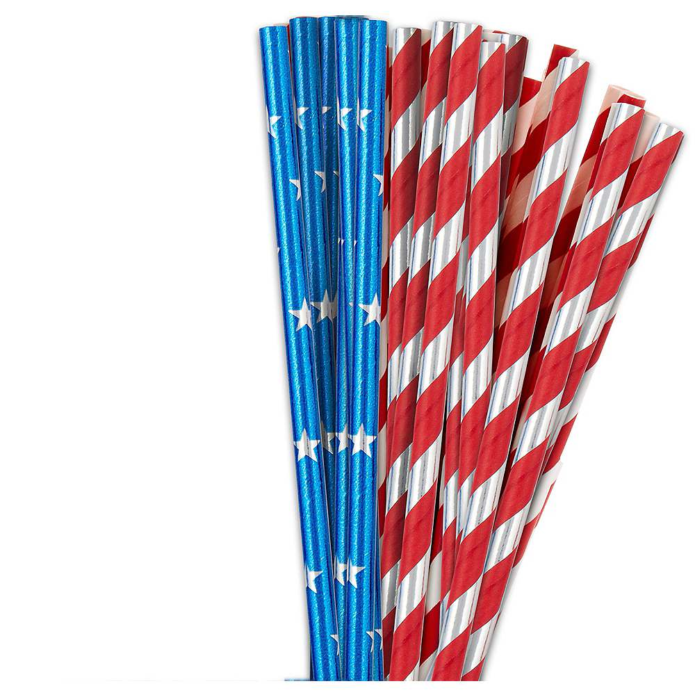 Metallic Patriotic Paper Straws 24ct Image #1