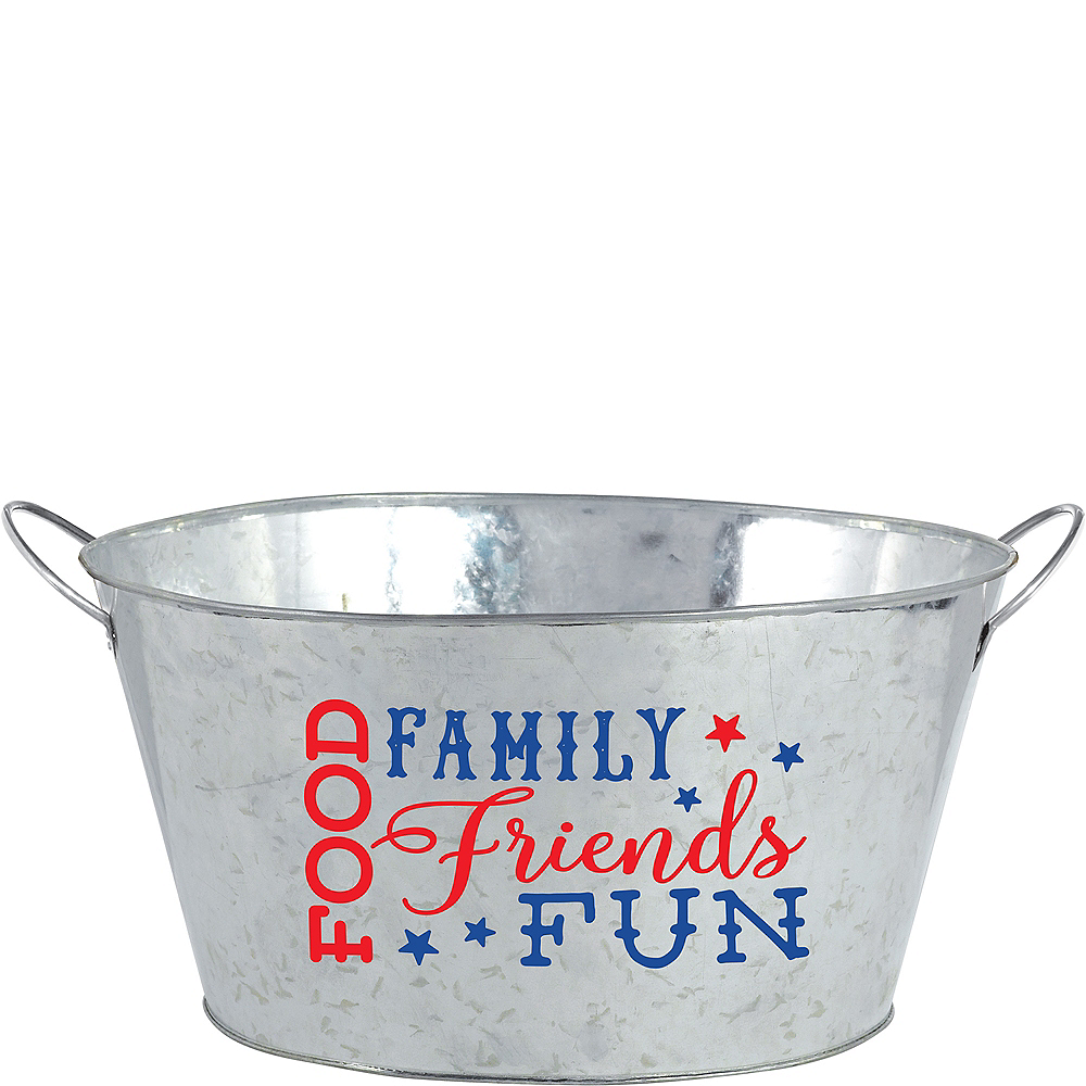 Patriotic Galvanized Party Tub Image #1