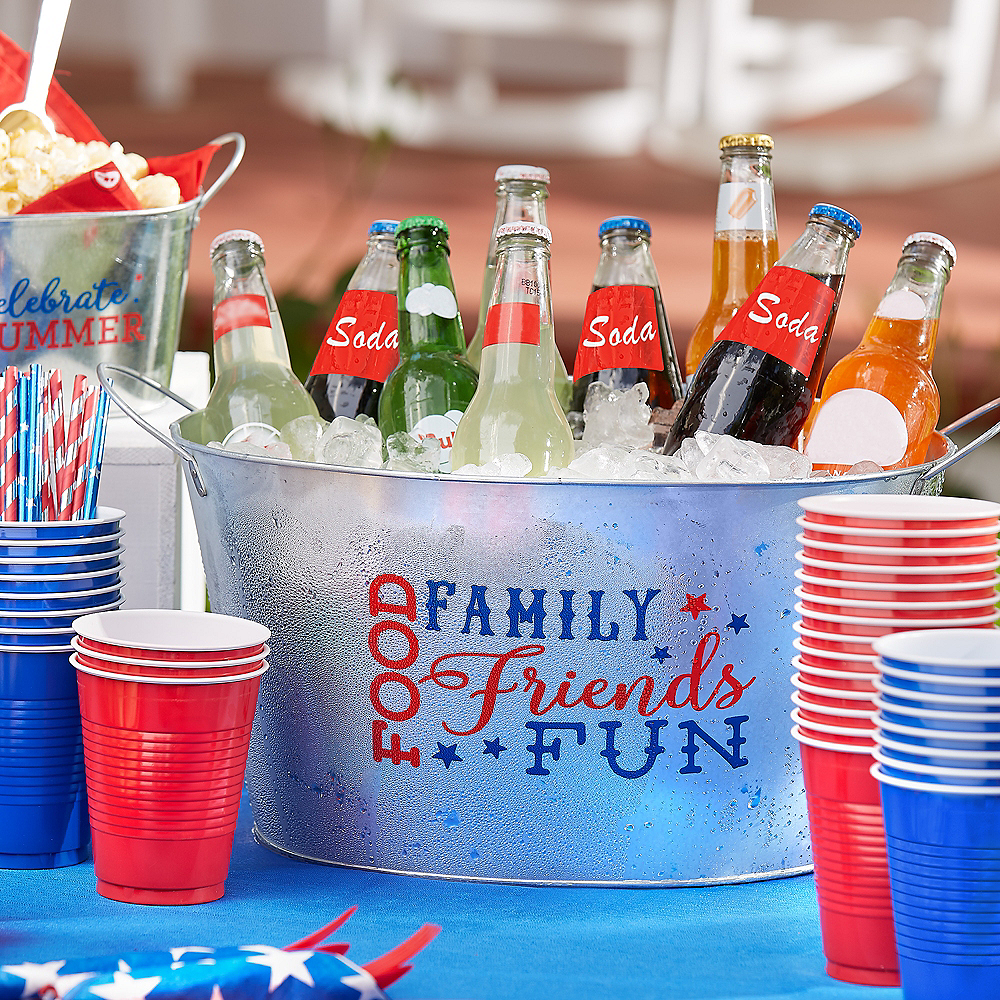 Patriotic Galvanized Party Tub Image #2