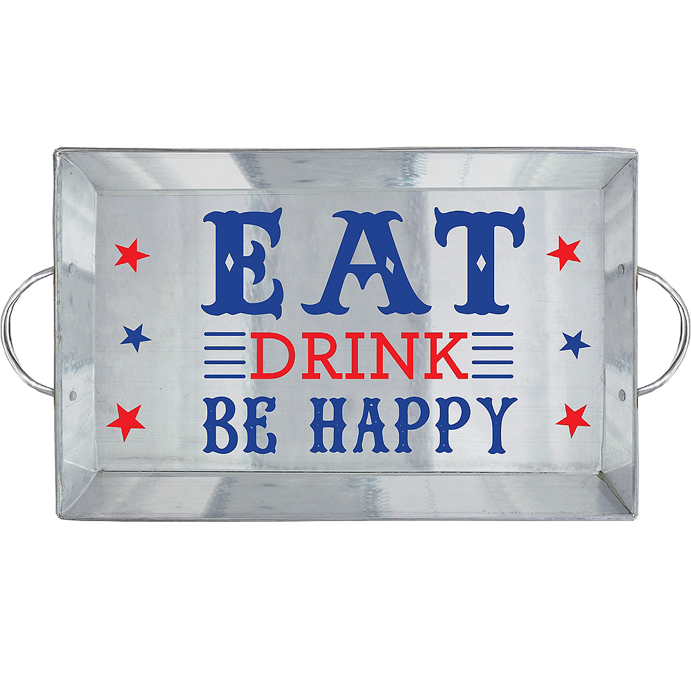 Galvanized Be Happy Serving Tray Image #1