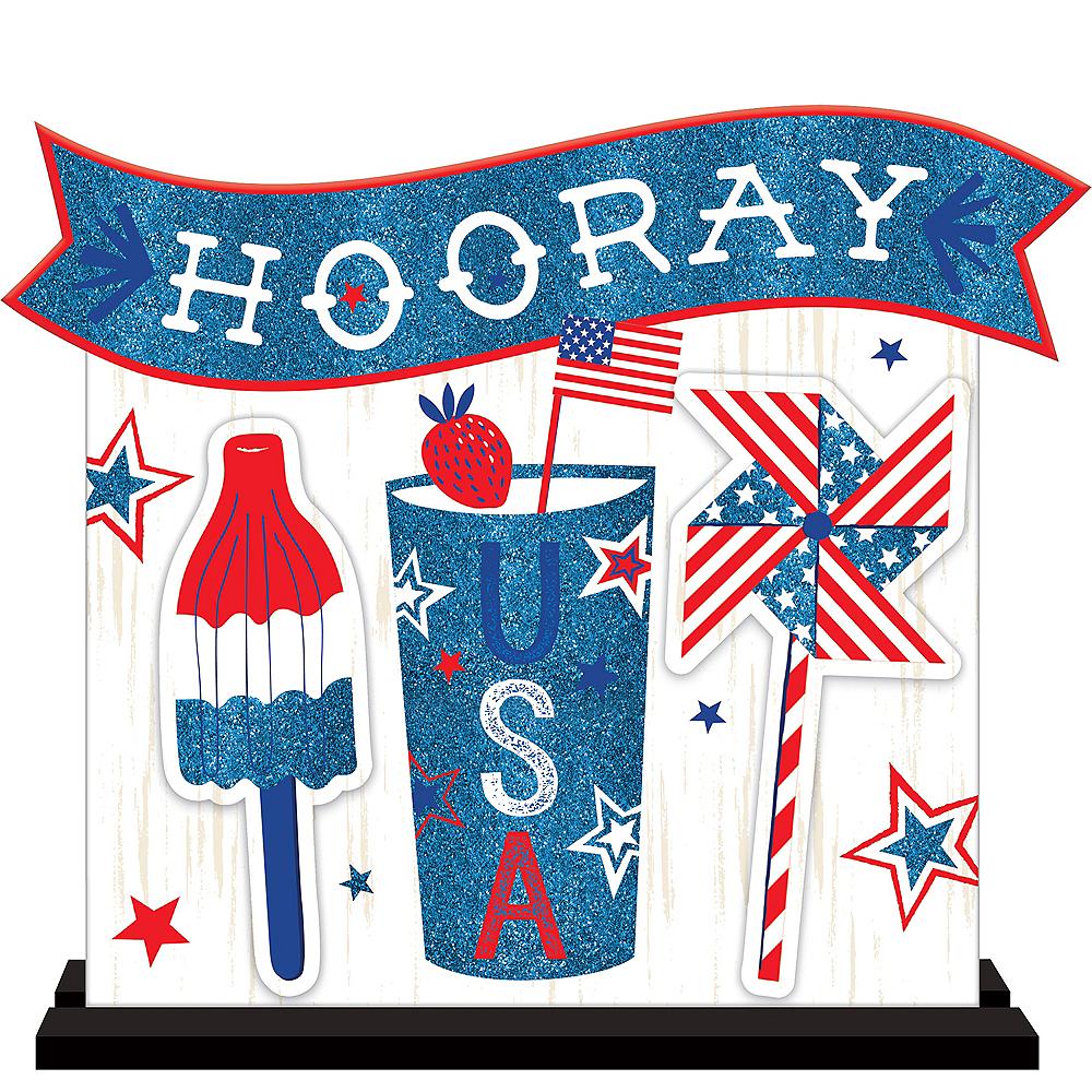 Patriotic Hooray USA Table Sign Image #1