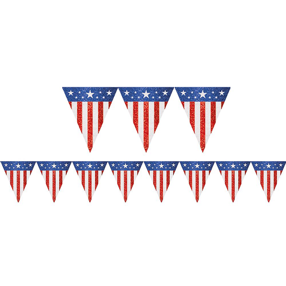 Glitter Burlap American Flag Pennant Banner Image #1