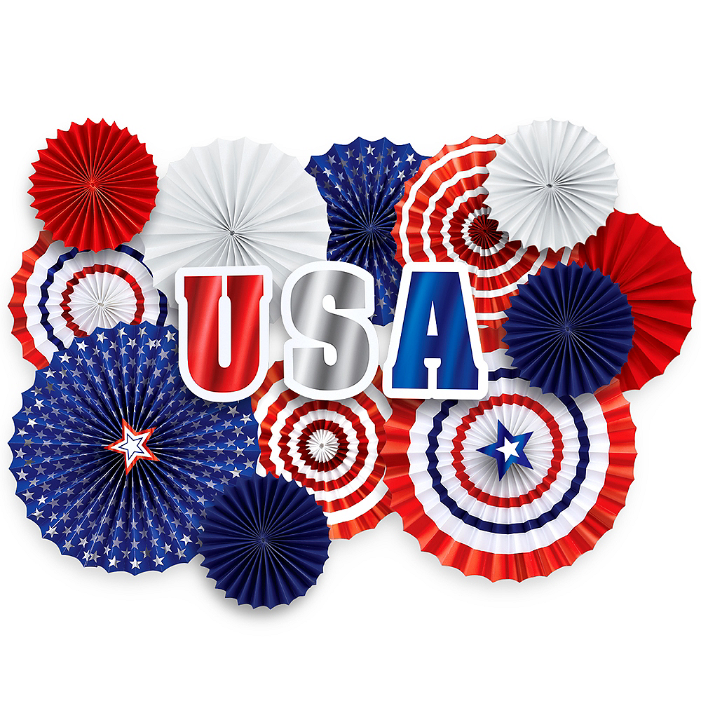Patriotic Red, White & Blue Paper Fan Decorating Kit 17pc Image #1