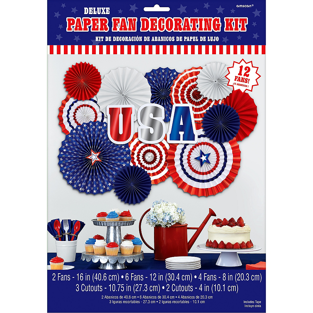 Patriotic Red, White & Blue Paper Fan Decorating Kit 17pc Image #2
