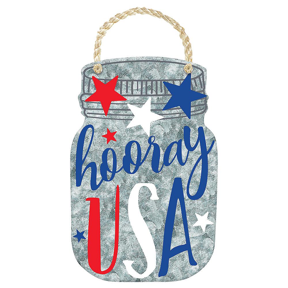 Patriotic Galvanized Hooray USA Sign Image #1