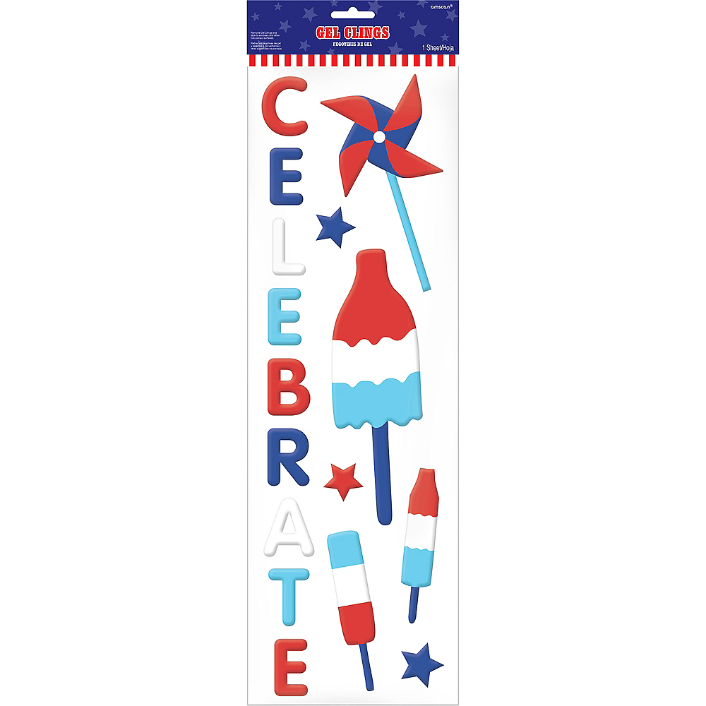 Patriotic Red, White & Blue Cling Decals 33ct Image #2