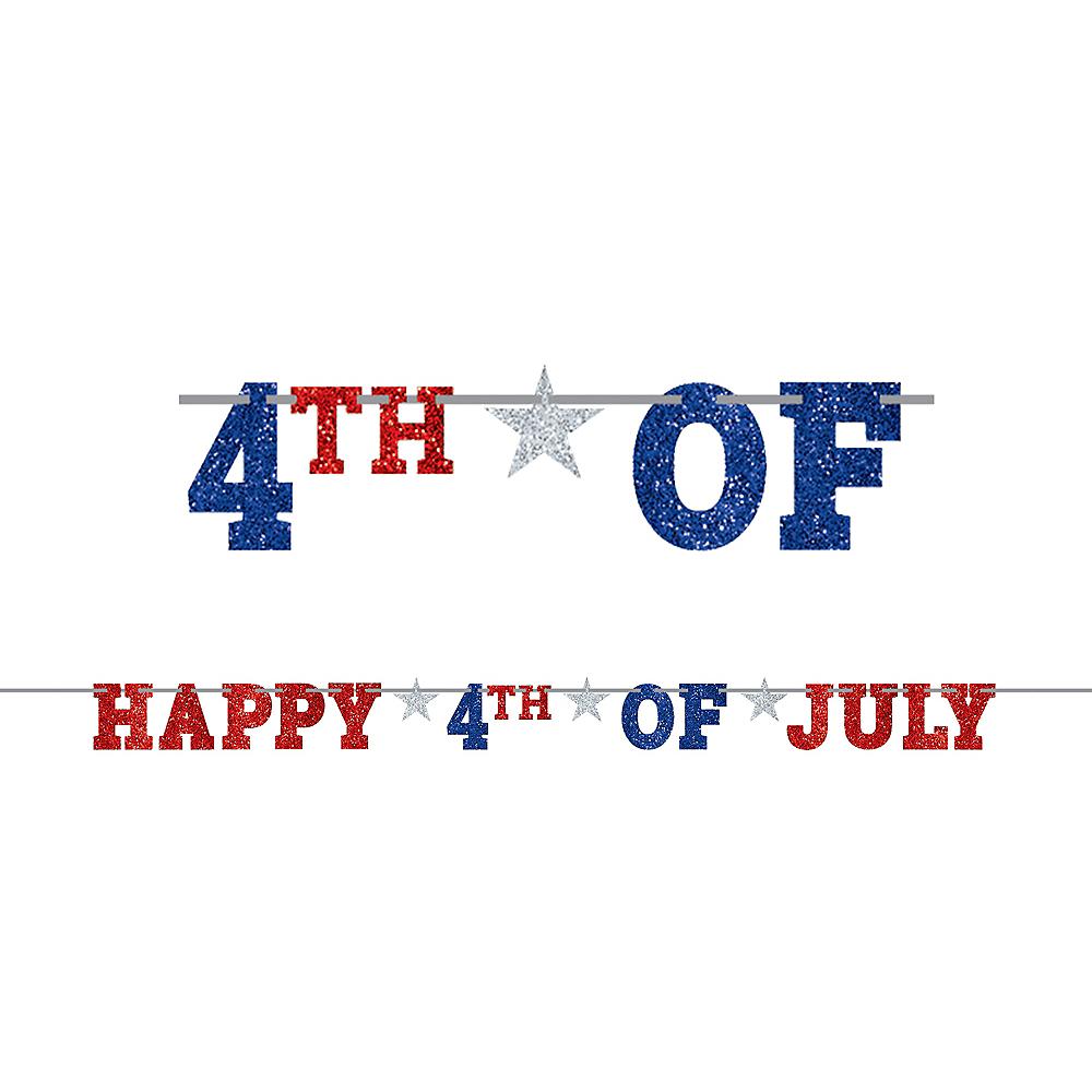 Glitter Patriotic 4th of July Letter Banner Image #1