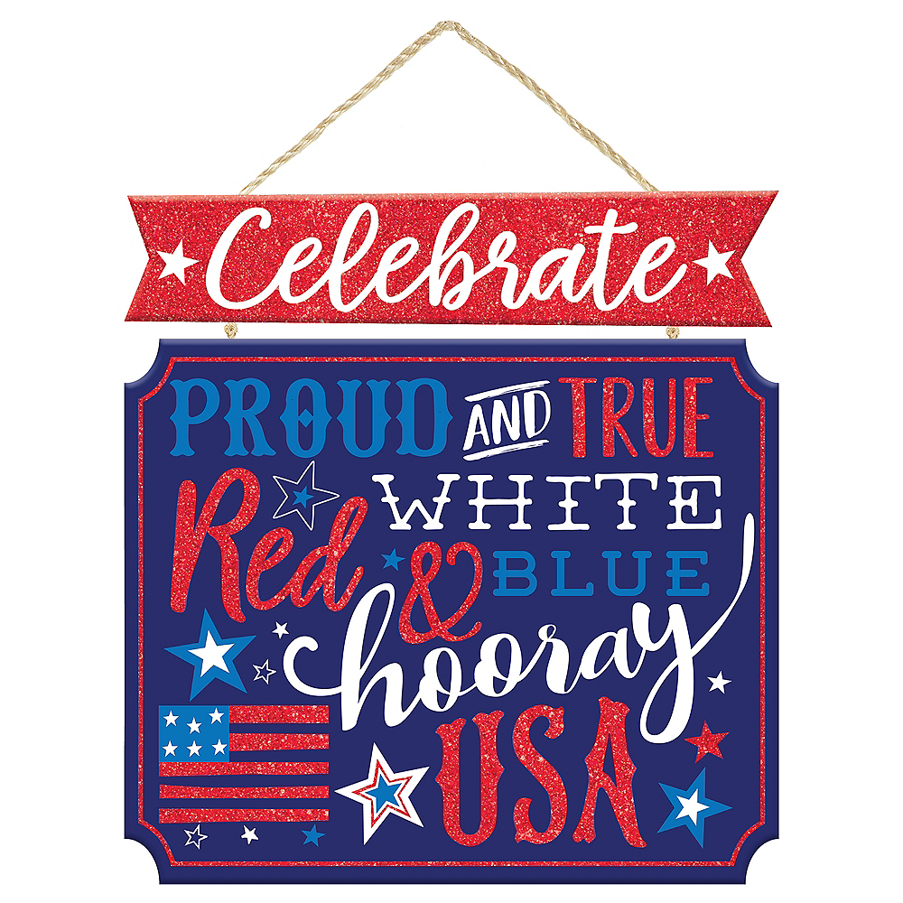 Glitter Patriotic Proud & True Stacked Sign Image #1