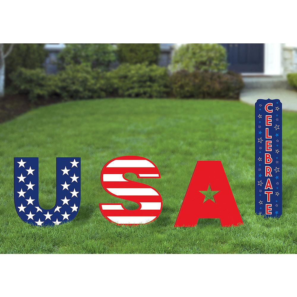 Patriotic USA Yard Sign Set 4pc Image #1