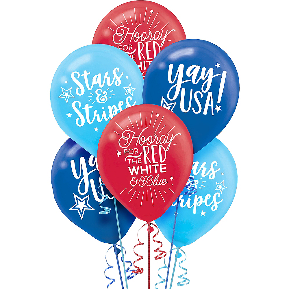 Patriotic Red, White & Blue Balloons 15ct Image #1