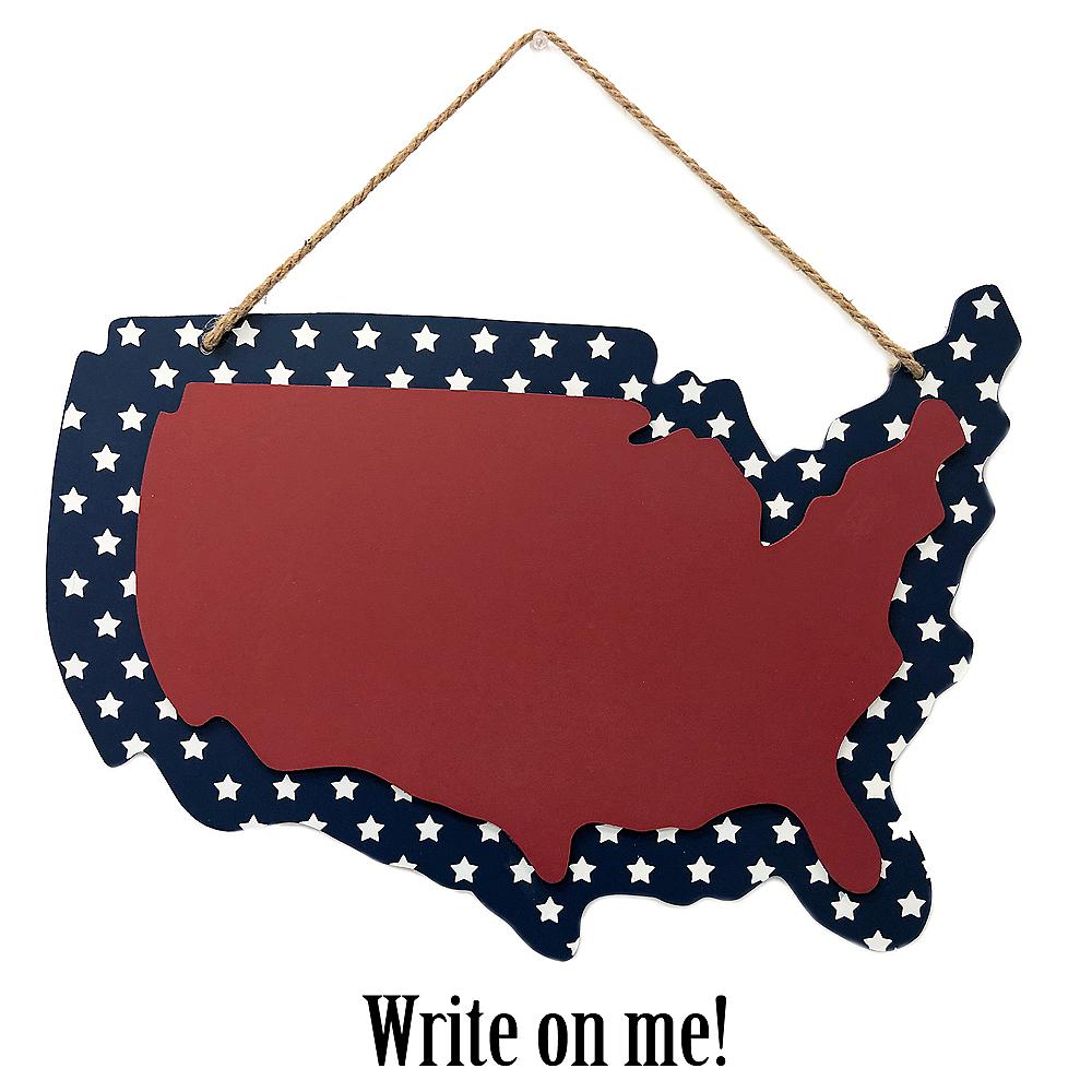 Patriotic United States Outline Chalkboard Image #1