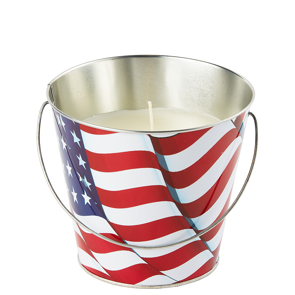Patriotic American Flag Citronella Candle Pail Image #1
