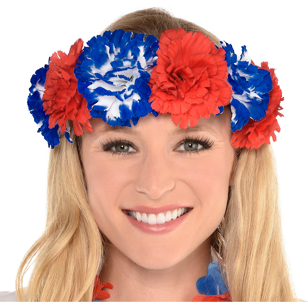 Patriotic Red White Blue Flower Headband 5 12in Party City