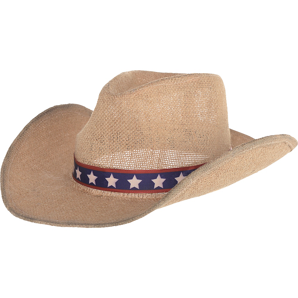12in x 5in Burlap Hat. Patriotic Burlap Cowboy Hat Image  1 60cee9e4cda7