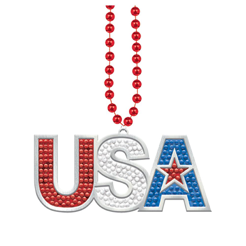 Patriotic USA Pendant Bead Necklace Image #1
