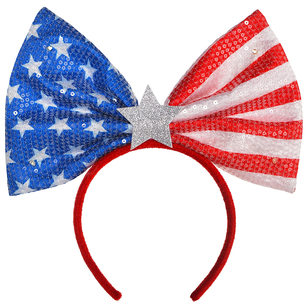 Light-Up Sequin American Flag Headband Image #1