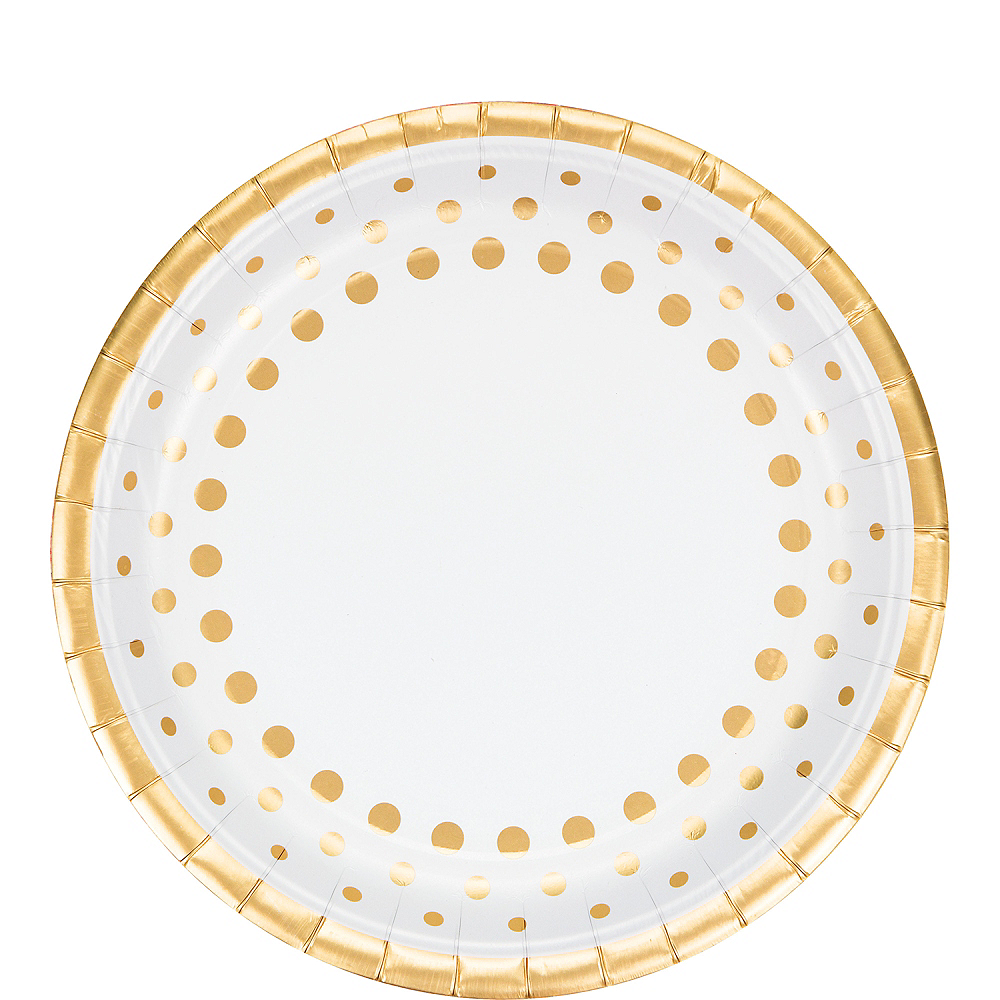 Metallic Gold Dots Lunch Plates 8ct Image #1