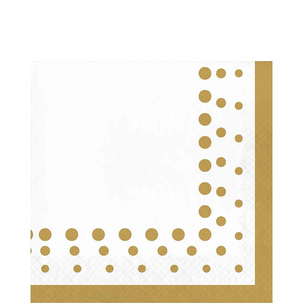 Metallic Gold Dots Lunch Napkins 16ct Image #1