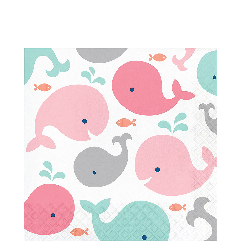 Pink Baby Whale Lunch Napkins 16ct Image #1