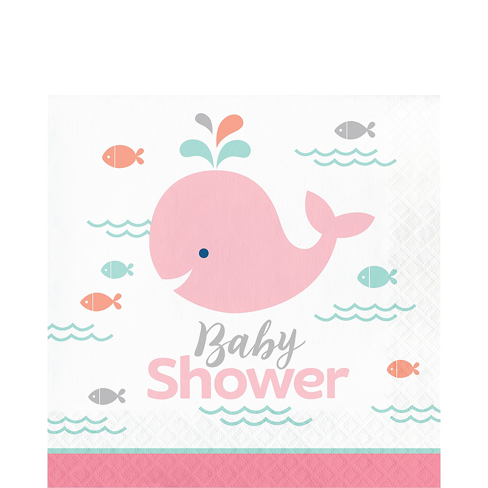 Pink Baby Whale Baby Shower Lunch Napkins 16ct Image #1
