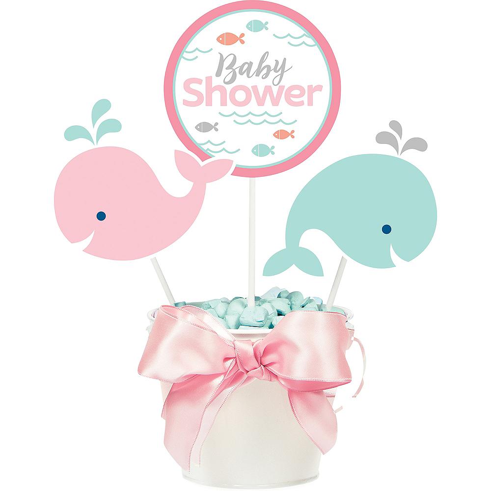 Pink Baby Whale Baby Shower Centerpiece Sticks 3ct Image #1