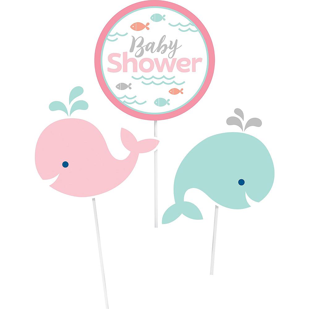Pink Baby Whale Baby Shower Centerpiece Sticks 3ct Image #2