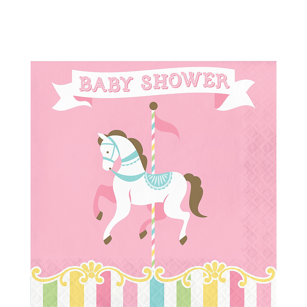 Pink Carousel Baby Shower Lunch Napkins 16ct Image #1