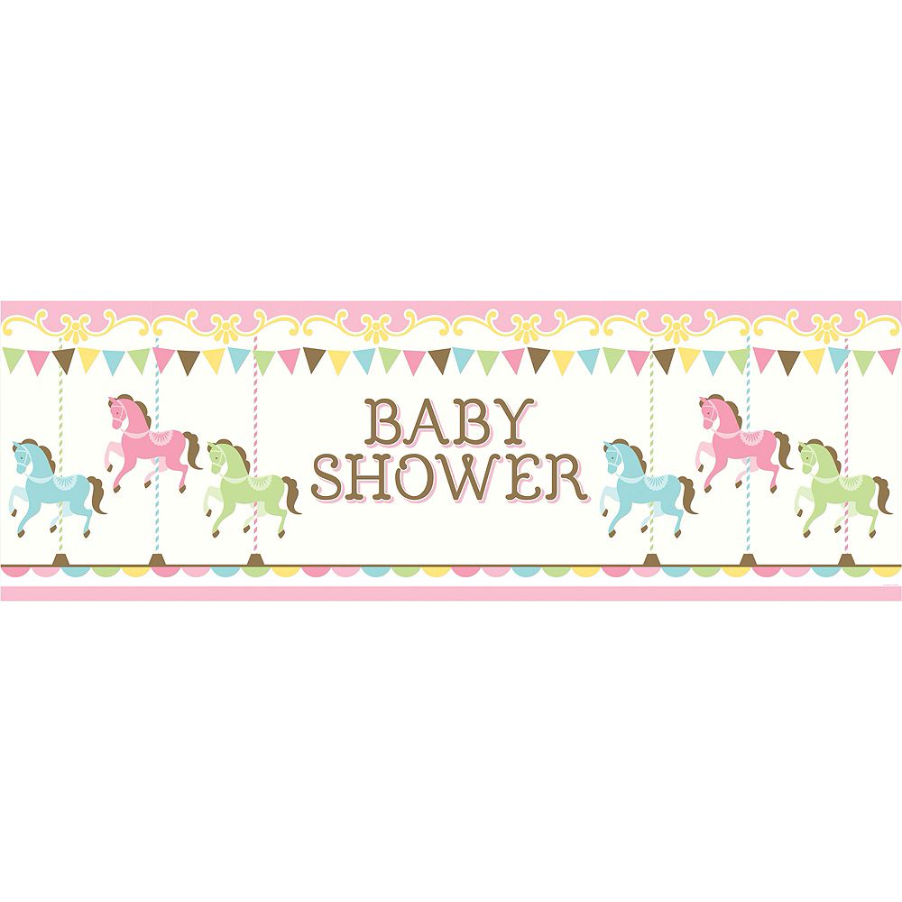 Giant Pink Carousel Baby Shower Banner Image #1