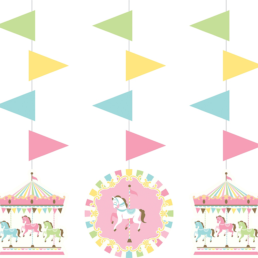 Pink Carousel String Decorations 3ct Image #1