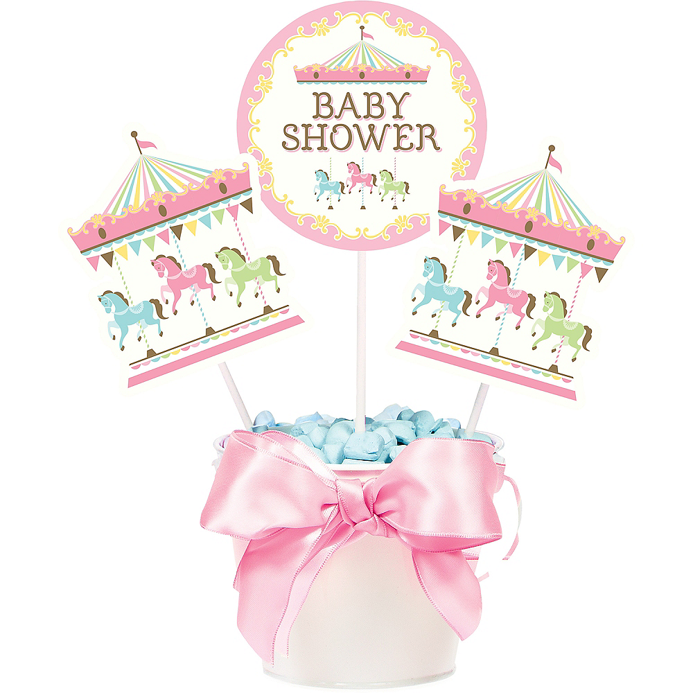 Pink Carousel Baby Shower Centerpiece Sticks 3ct Image #1