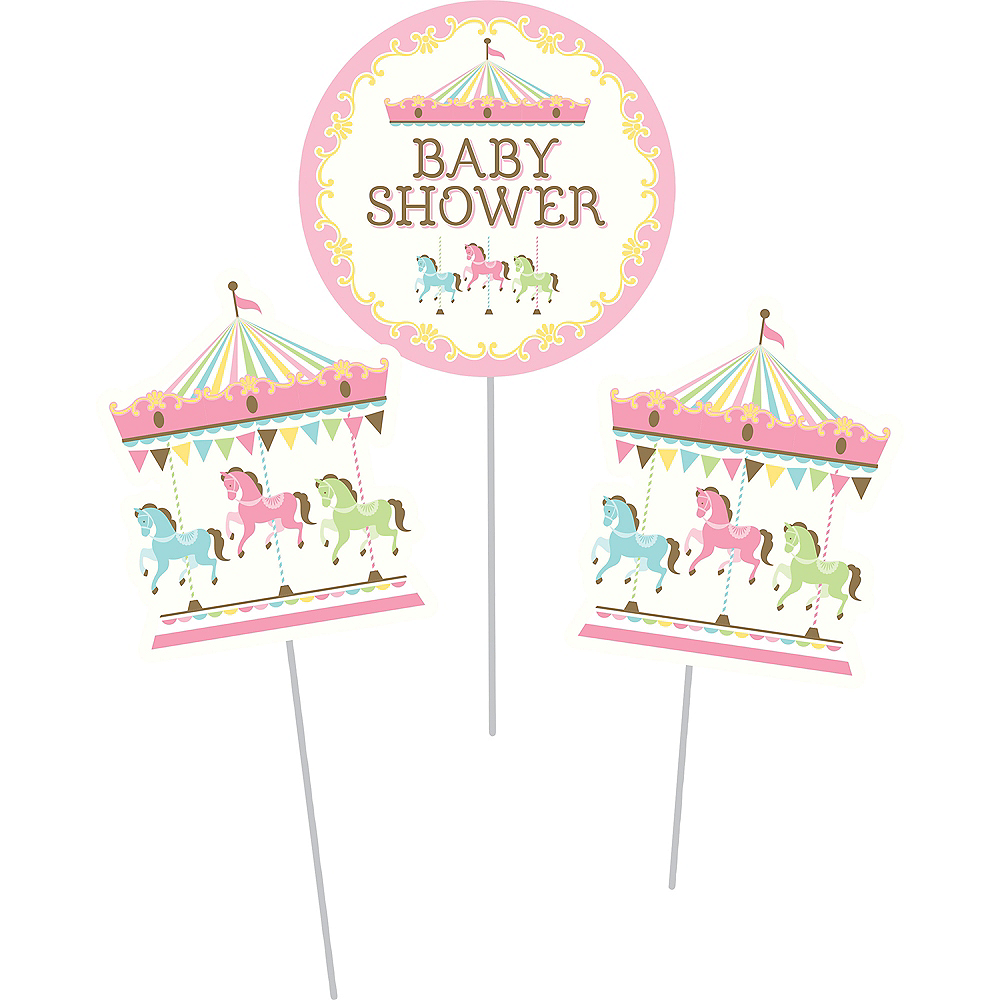 Pink Carousel Baby Shower Centerpiece Sticks 3ct Image #2