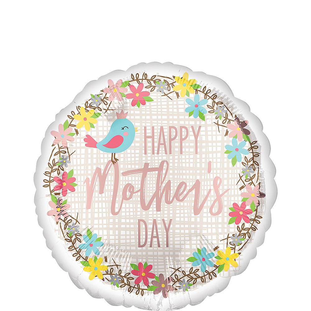 Bird & Flowers Mother's Day Balloon, 17in Image #1