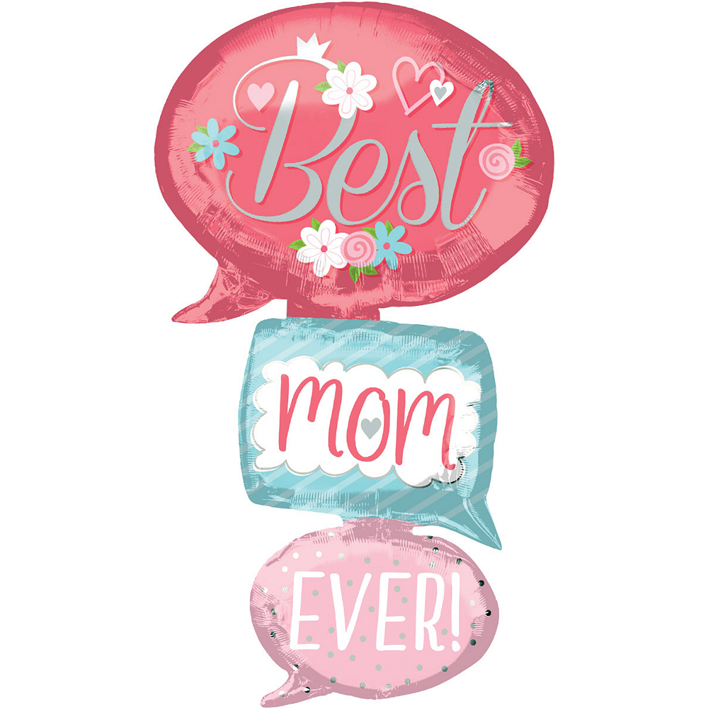 Giant Stacked Best Mom Ever Speech Bubble Balloon, 26in Image #1