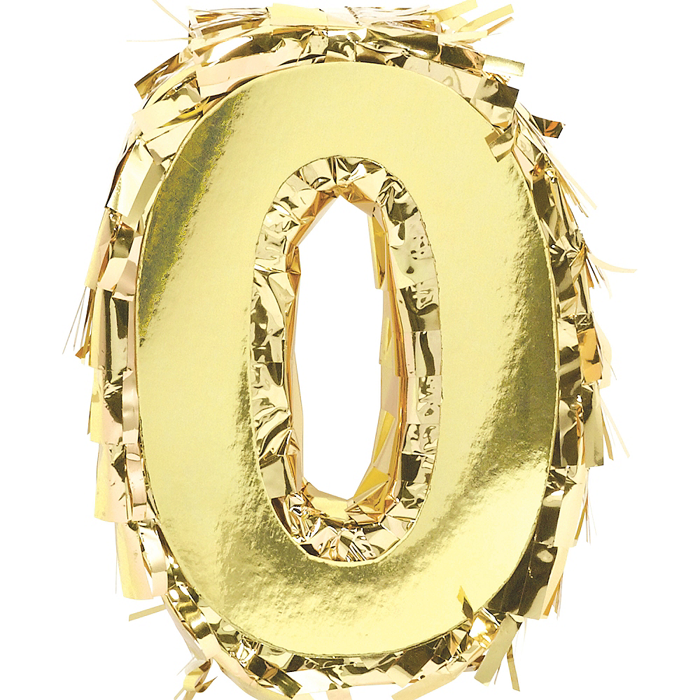 Metallic Gold Number 0 Pinata Decoration Image #1