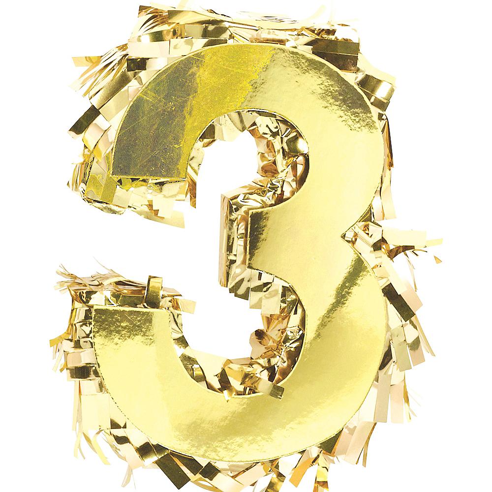 Metallic Gold Number 3 Pinata Decoration Image #1