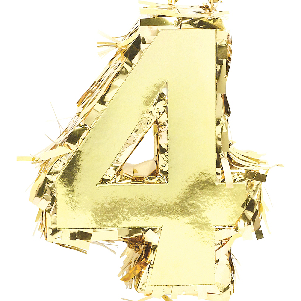 Metallic Gold Number 4 Pinata Decoration Image #1