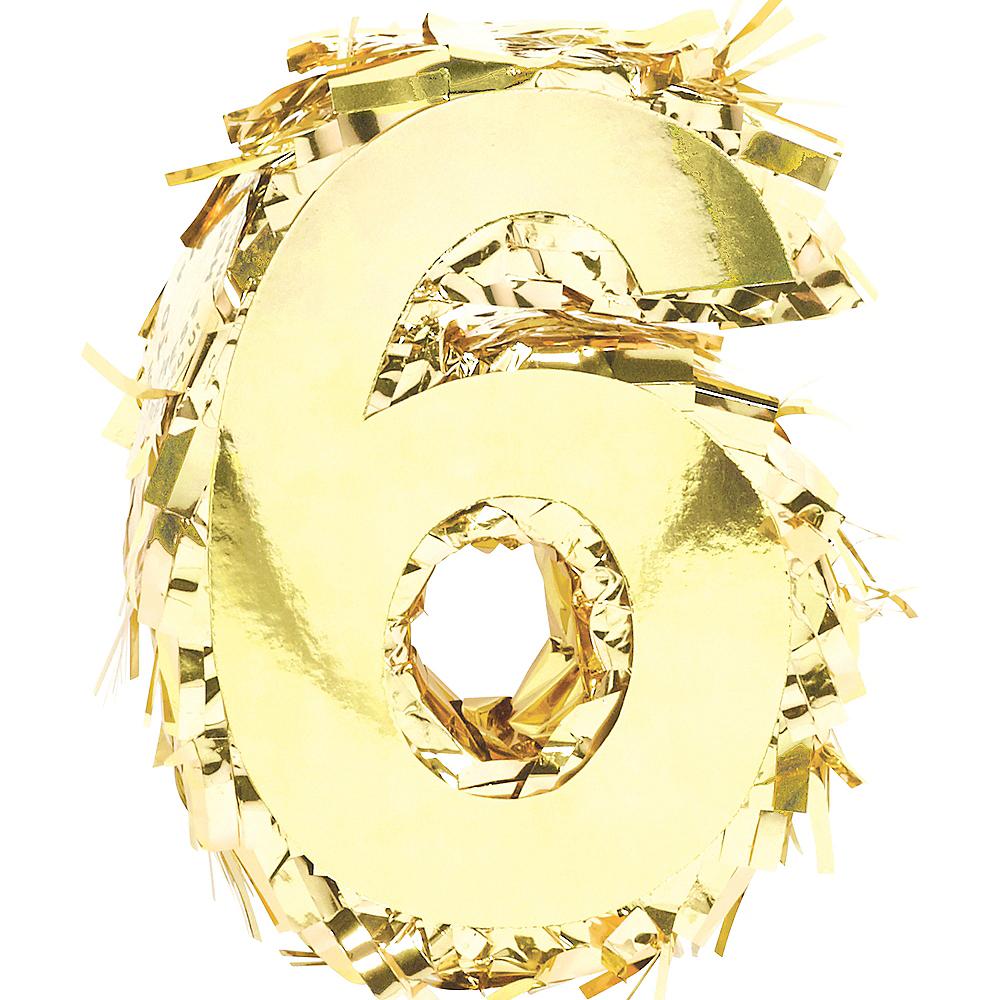 Metallic Gold Number 6 Pinata Decoration Image #1