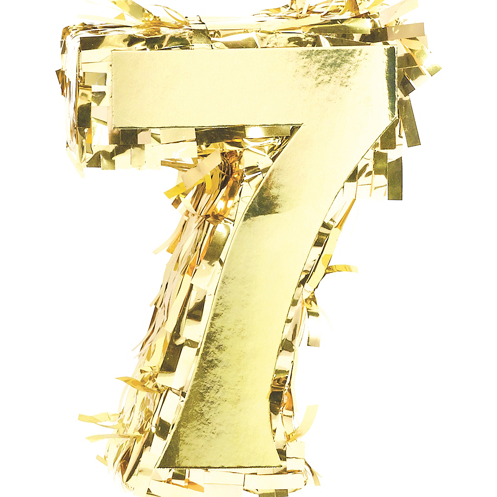 Metallic Gold Number 7 Pinata Decoration Image #1