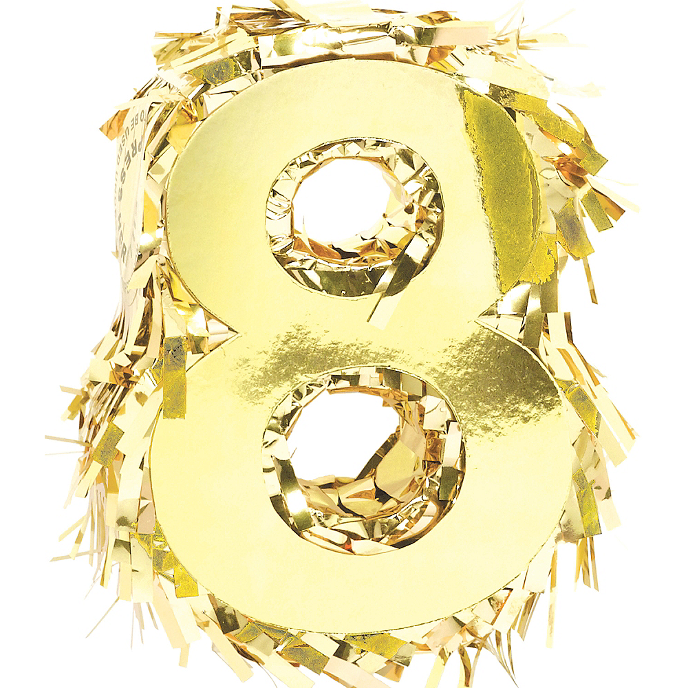 Metallic Gold Number 8 Pinata Decoration Image #1