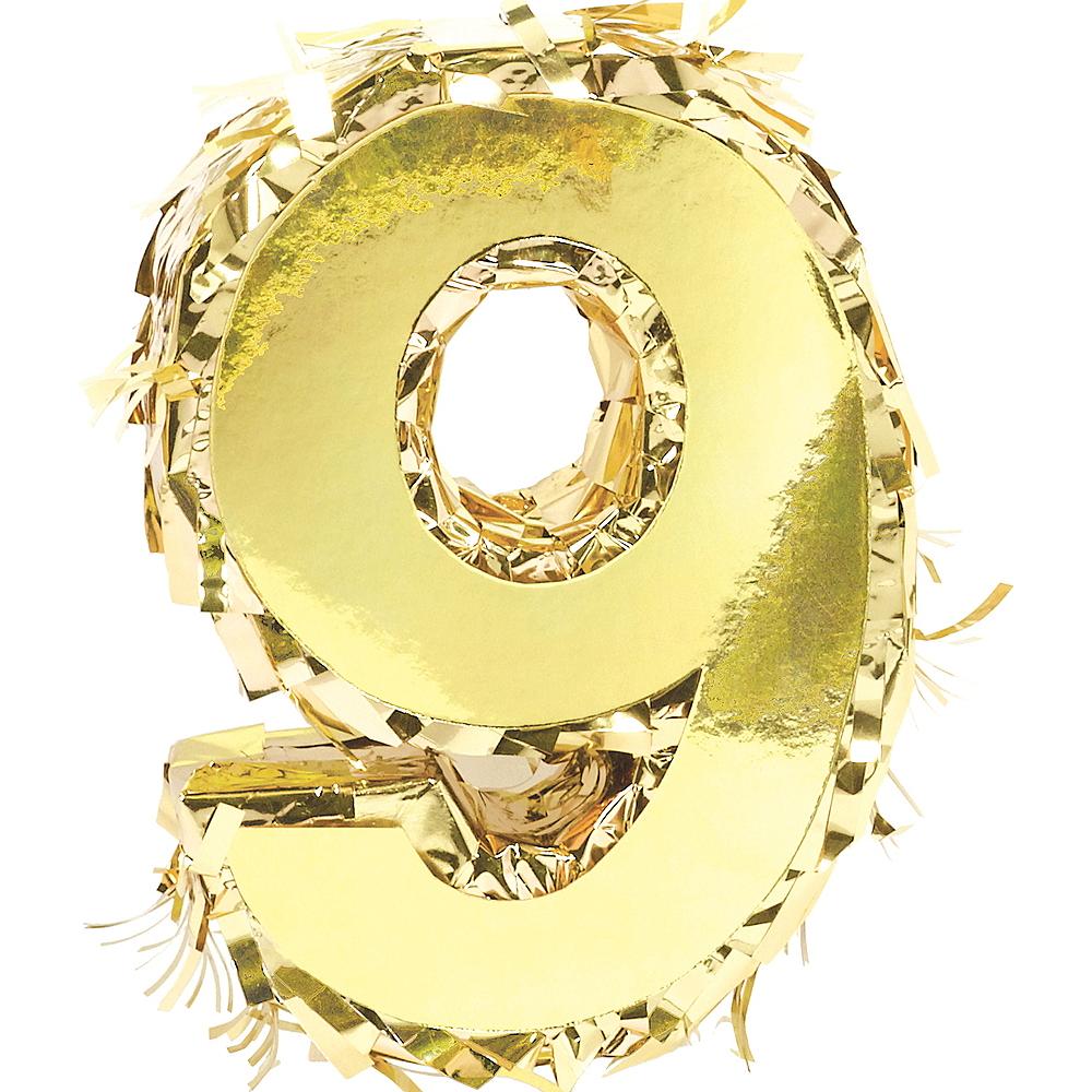 Metallic Gold Number 9 Pinata Decoration Image #1
