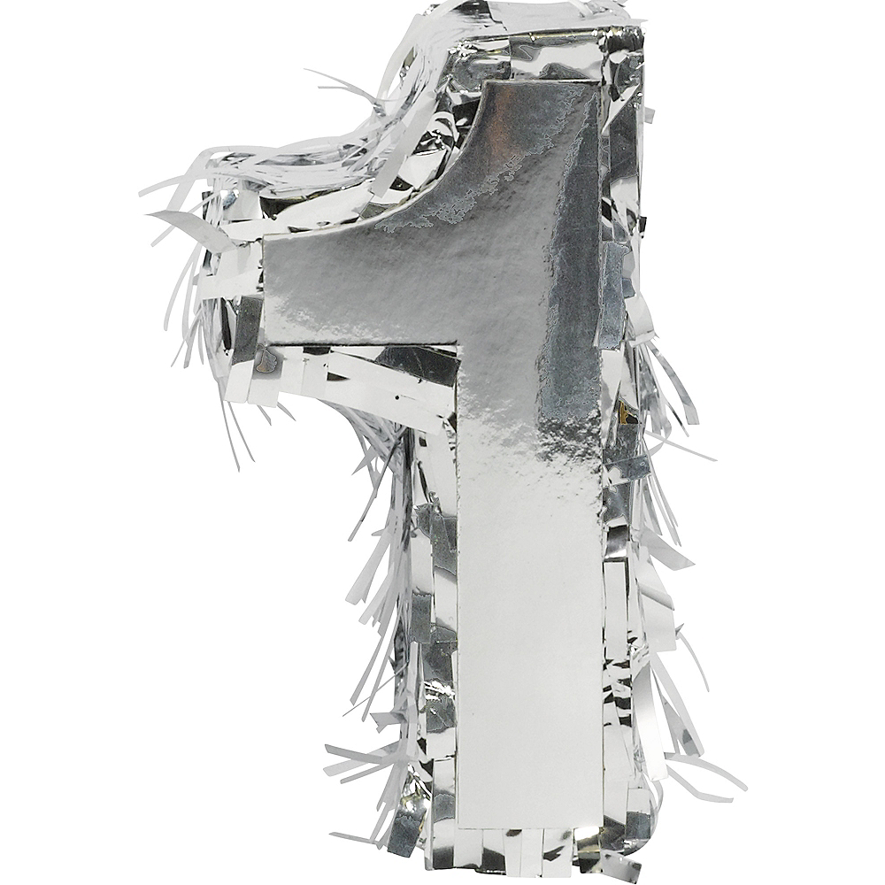 Nav Item for Metallic Silver Number 1 Pinata Decoration Image #1