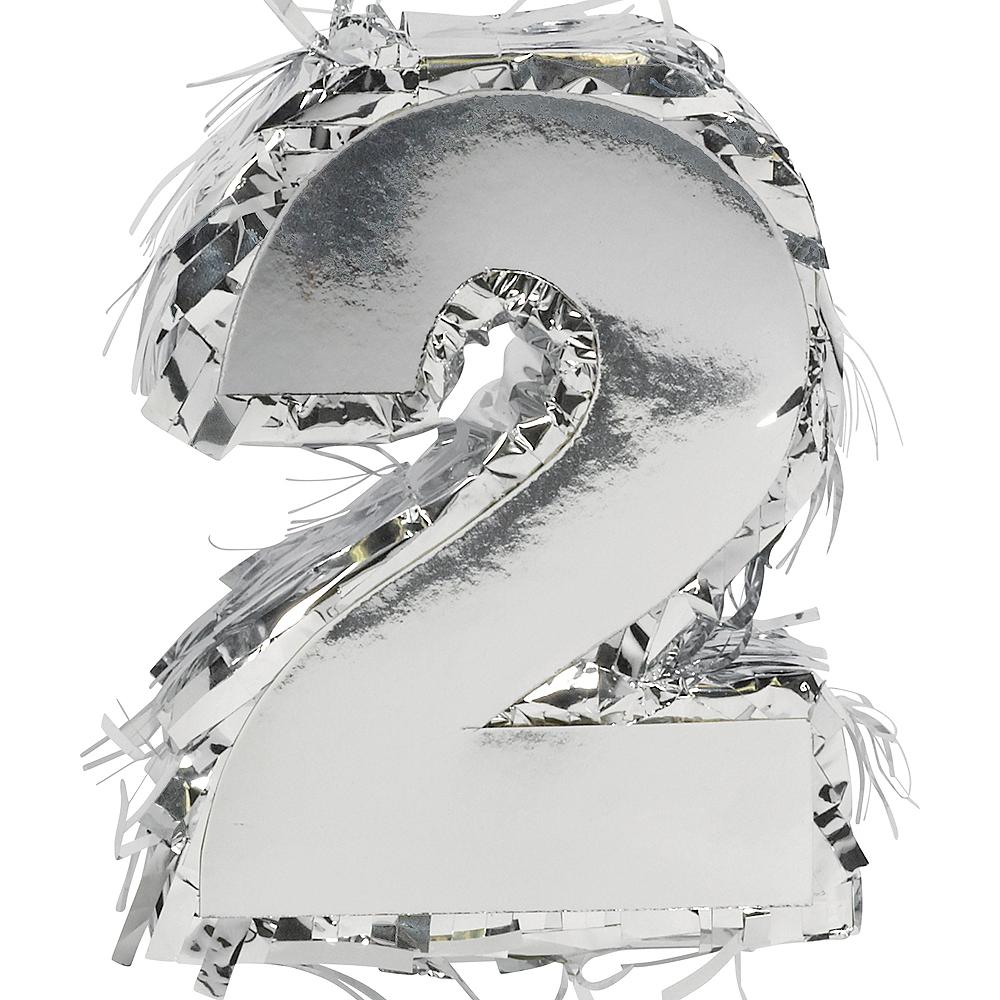 Metallic Silver Number 2 Pinata Decoration Image #1