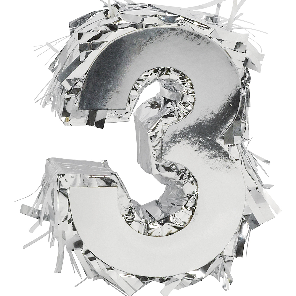 Metallic Silver Number 3 Pinata Decoration Image #1