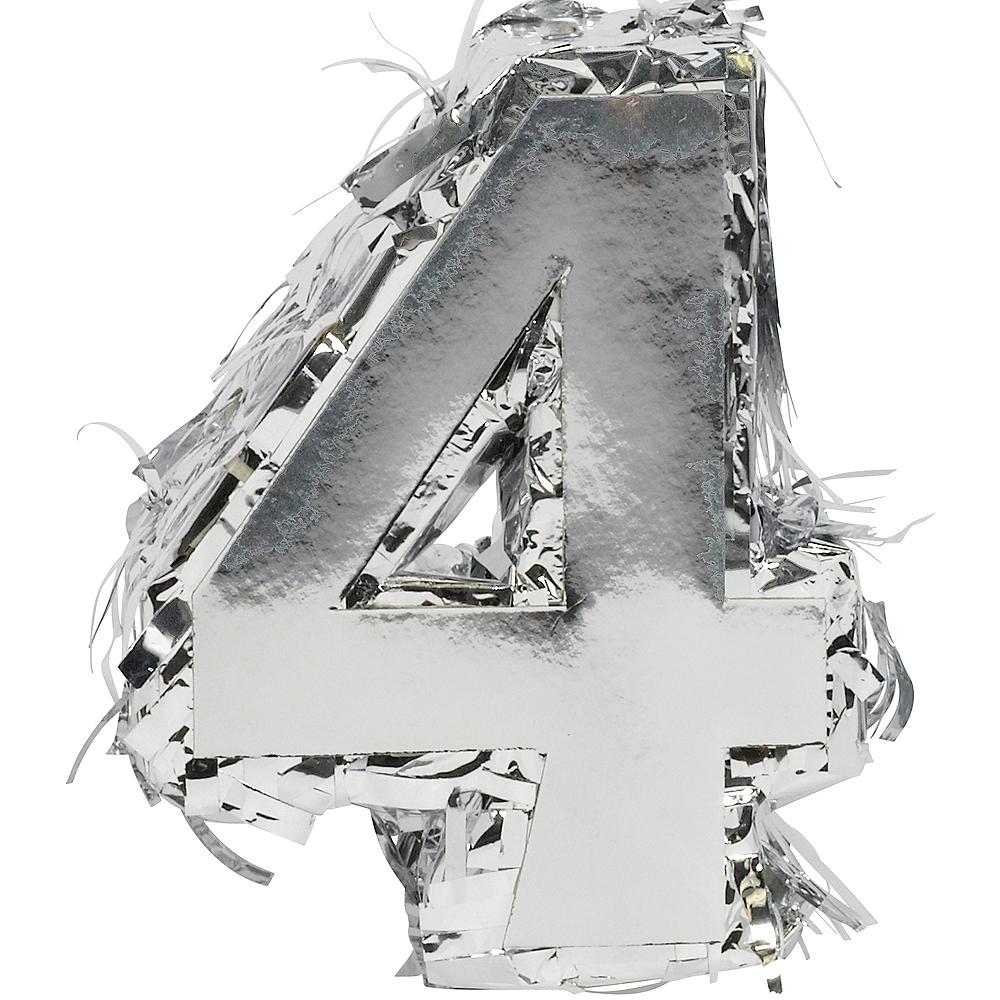 Metallic Silver Number 4 Pinata Decoration Image #1