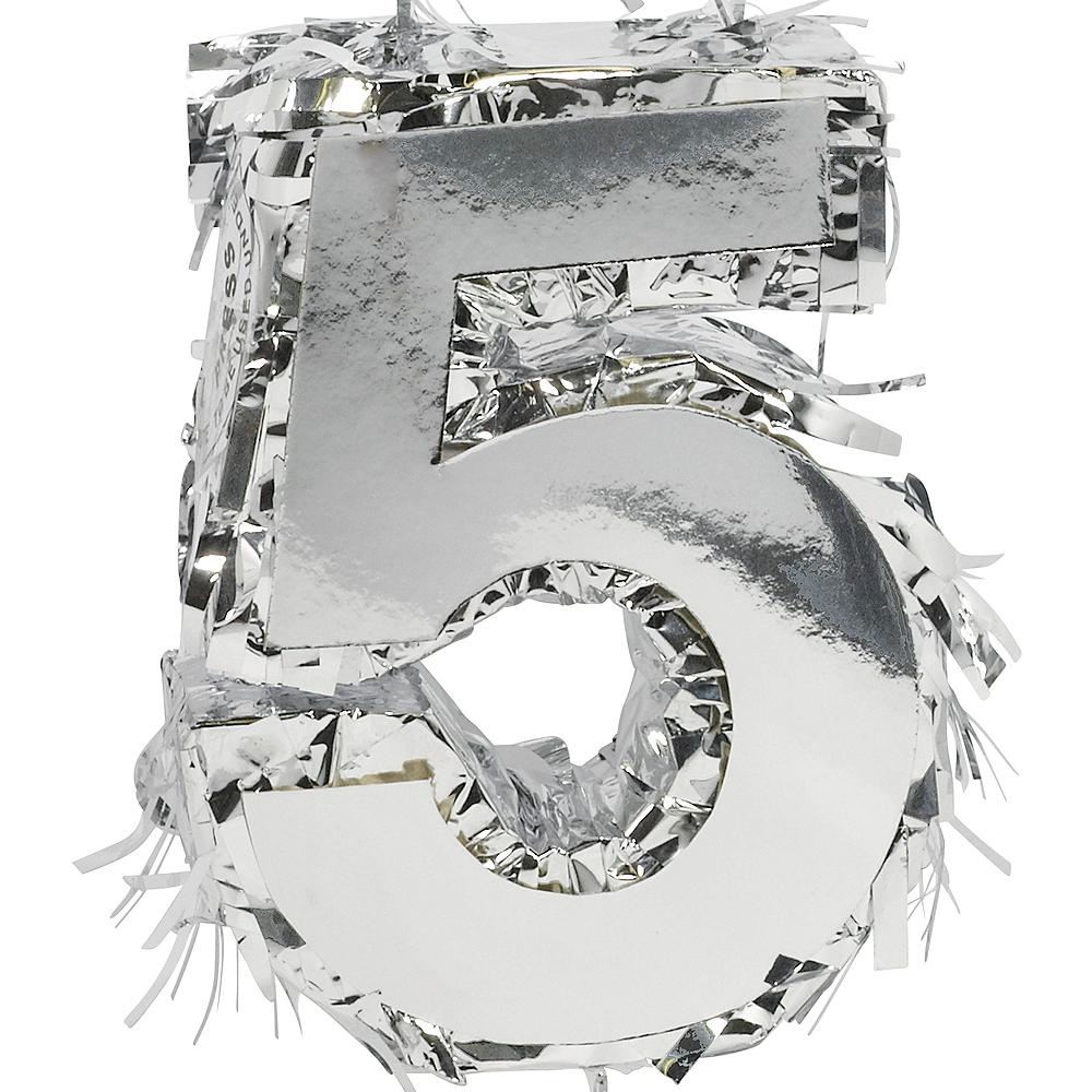 Metallic Silver Number 5 Pinata Decoration Image #1